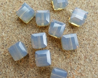 Swarovski 6mm Faceted Crystal Cube (5601) Bead - LIGHT GREY x 10 Beads