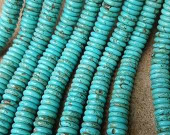 "Natural Turquoise Heishi Beads Dyed 12mm  x 2~3mm - 16"" Strand"