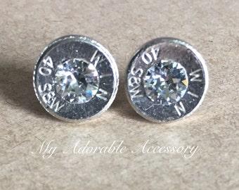 Bullet Stud Earrings/Winchester 40 Caliber Bullet Earrings/Nickel Bullet Earrings