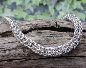 Classic Sterling Silver 1oz Full Persian 6 in 1  Chainmail Bracelet 925