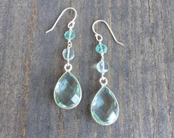 Sea Foam Green Drop Earrings - Mint Green Drop Earrings - Aqua Drop Earrings
