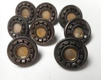 """9 Antique Matching Brass Button Lot MOP Pearl Center Dark Tint Victorian Buttons 9/16"""""""