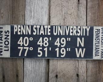 Penn State University Sign, Penn State University Latitude Longitude Sign, Nittany Lions Sign, Penn State University Decor, Nittany Lions