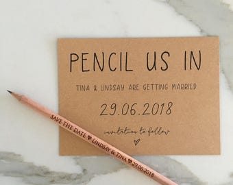 Lily Save the Date Card | Pencil Us In Save the Date Card | Wedding Save the Date Card & Envelope | Pencils Not Included | Lily Collection