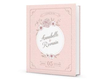 Book gold custom wedding, Shabby chic pink powder