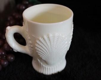 EAPG Northwood Glass Custard Sea Shell Mug - Signed, Uranium