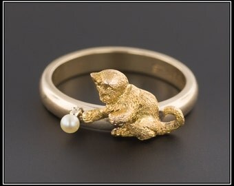 14k Gold Cat Ring | Antique Pin Conversion Ring | Antique Cat Ring | 14k Gold Ring | Cat Jewelry