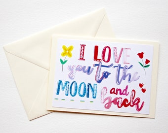 I love you to the moon and back card, Valentine's Day card, valentines card, moon and back, love you to the moon, romantic card