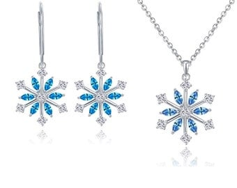 2.00 Carat Designer Style Blue and White and Diamond Snowflake Pendant and  Earrings in 925 Sterling Silver and 14K White Gold