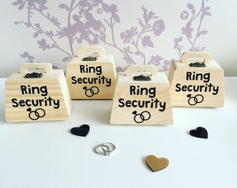 Small wooden ring security box, wooden wedding ring box, ring bearer box