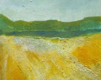 "Abstract textured acrylic painting-Title ""Summer Field""- Size: 12""x12"""