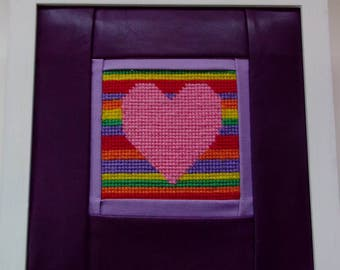 heart tapestry picture white frame OOAK purple leather surround textile design unique hand embroidery wood frame