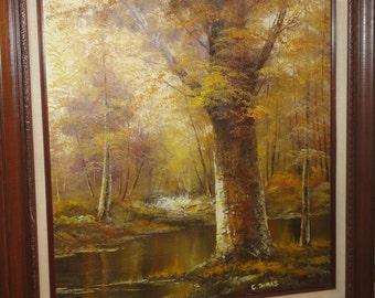 Vintage Oil on Canvas/ Fall/ Tree/Stream/ Signed