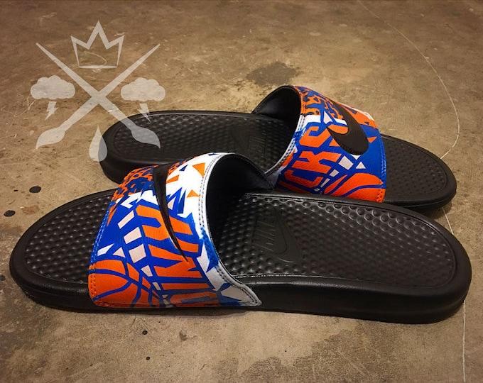 New York Knicks NY Nike Custom Benassi Swoosh Slide Sandals Flip flops Men's
