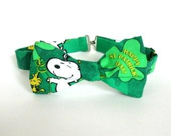 Charlie Brown Saint Patricks Day Bow Tie Self Tie Snoopy Green Shamrock St Pattys Day Irish Lucky Peanuts Bowtie Cotton Freestyle Adjustable