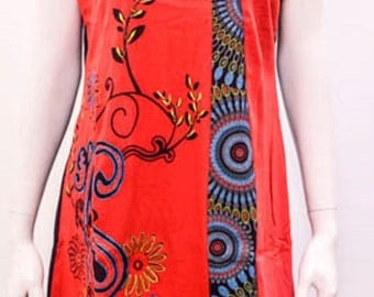 Funky Boho Patchwork Psychedelic Floral Stitch Tunic Dress Red Size 12 14