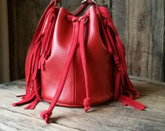 "Bucket bag ""Anna"" red leather"