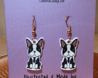 Boston Terrier - Doggy / Puppy / Dog - Drop Earrings - Illustrated - Handmade