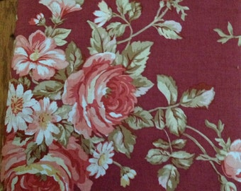 Vintage Rose by Treasures by Shabby Chic, Rusty Red with Large Roses,  Fabric by the  Yard, Cut from the Bolt, OOP, HTF