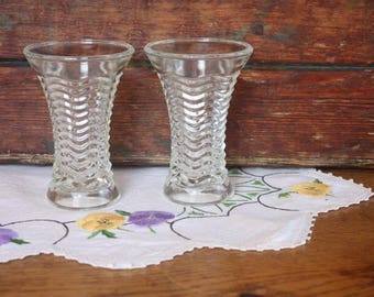Pair of Pressed Glass Vases ~ Art Deco ~ Wedding Table Centrepieces High Tea Cottage Decor ~ Price for the pair