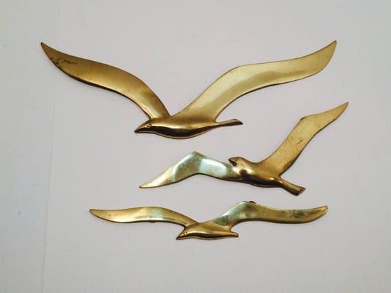 Vintage Brass Flock Of Seagulls Wall Art Flock Of