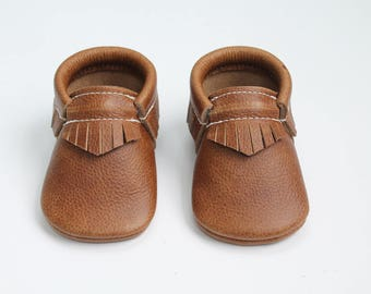 Weathered Brown Leather Baby Moccasins