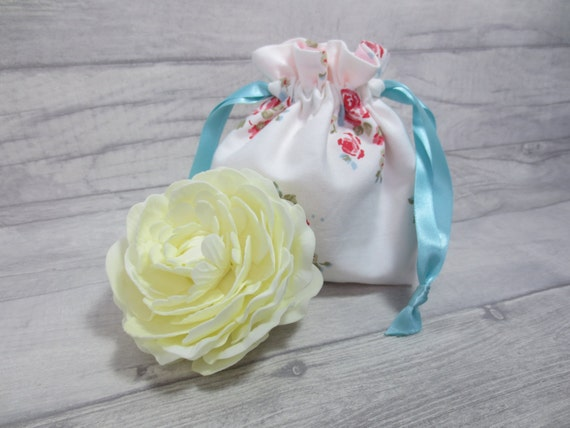 Bridal Bag Bridesmaid Drawstring Bag Floral Bag Rose Bag