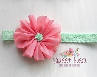 Double Ruffle Coral on Mint Lace Band