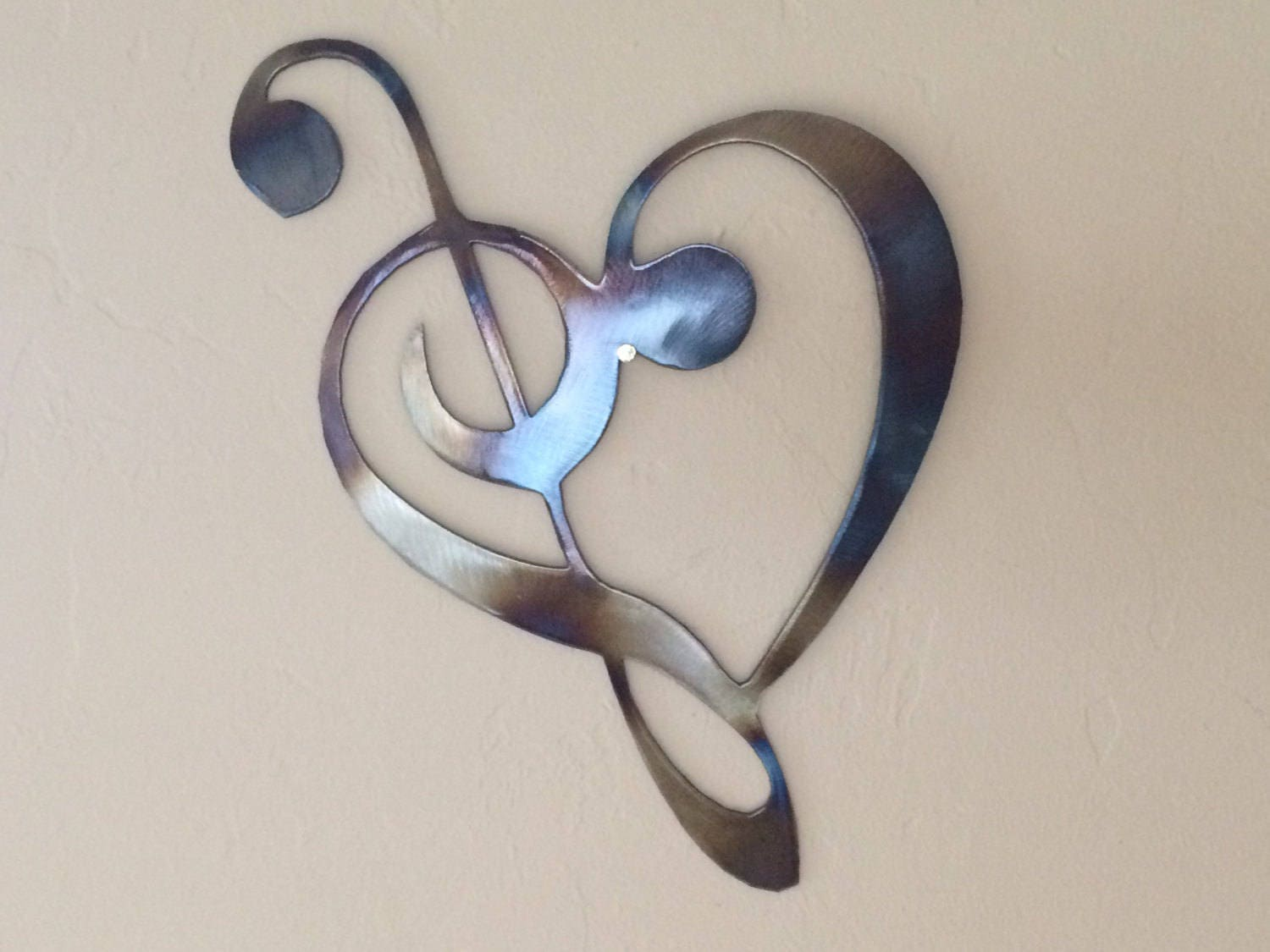 Metal Wall Decor With Musical Notes : Heart music notes metal wall art decor