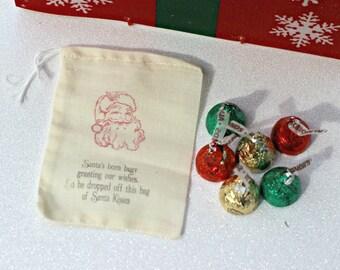 Christmas Party Favor - Christmas Treat Bag  - Christmas Party Decor - Santa Kisses Treat Bag -  Santa Party Favor - Santa Kisses -Classroom