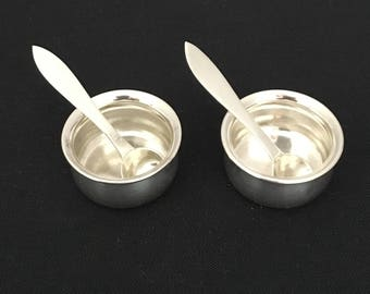 Sterling Salt Cellars With Sterling Salt Spoons