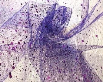 "JN00182 Sale Item Purple Glitter Sparkle Mesh 2 Way Stretch Sheer Body Super Lightweight Fashion Home Decor Craft 60""Fabric By The Yard"