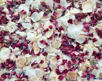 Wedding confetti biodegradable handmixed natural dried petals ivory and red vintage