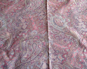"""Vintage Paisley Jacquard Upholstery Fabric in Burgundy, Reds & Greens ~ 50"""" x 72"""""""