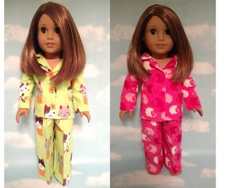 18 inch Girl Doll Clothing, handmade to fit like American Girl Doll clothes, (Pajamas choose green or pink) pj-410mcab