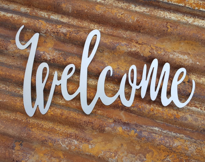 Welcome sign, Word Sign, Metal Calligraphy Sign, Farmhouse Decor, Rustic Sign, Rustic Style, Rustic Home Decor, Farmhouse Sign, Fixer upper
