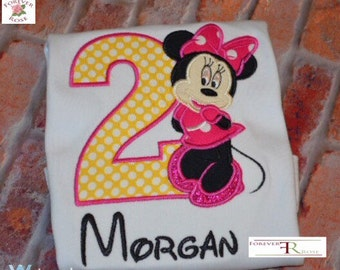 Girls Personalized Minnie Birthday Shirt