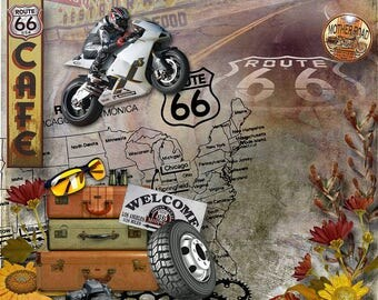 Digital Scrapbooking Kit - Route 66 - travel, Historic Highway, America .Printable quality