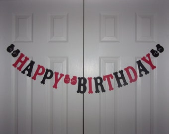HAPPY BIRTHDAY Letter Banner Red, Black Cardstock Paper Boxing Glove Garland Hanging Door Mantel Wall Party Decor