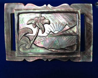 Carved Abalone Shell Buckle Brooch 1950s