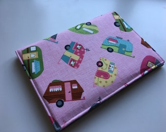 A5 covered notebook or diary. Pink caravan fabric with grey polka dot lining - perfect back to school gift