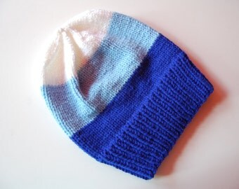 Blue and White Slouchy Beanie