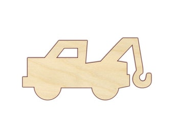Tow Truck - Unfinished Wood Shape - Wood Craft Shapes - 170421