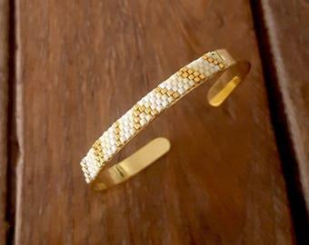 BRACELET KAYA Lemon Ice gold plated and glass Miyuki beads
