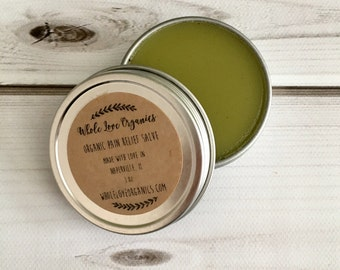 Organic Pain Relief Salve - Arnica - Comfrey - Cayenne Extract - Essential Oils - Vegan Salve - Herb Infused