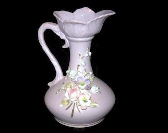 Vintage Lefton, Lavender Pitcher, Vase Floral Design, Porcelain Vase, Home Decor, Pitcher Vase, Purple Vase, Pitcher Vase, Vintage Vase
