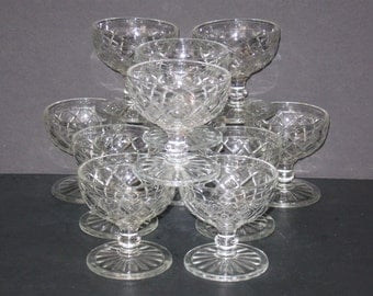 Vintage Pudding Bowls, Dessert Bowls, Pedestal Custard Dishes, Cut Glass, Dessert Dishes, Collectible Set, Diamond Design, Serving Dishes