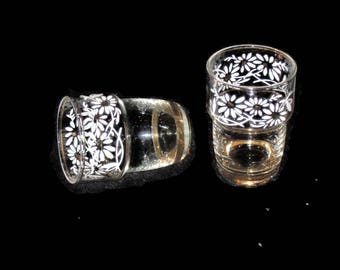 Vintage Miniature Glasses, Stacking Glasses, Shot Glasses, Collectible Glasses, Vintage Hand Painted Floral Glasses, Tiny Glasses, Mini Cups