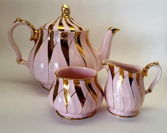 Rare Sadler Pink and Gold Swirl Teapot Set with Sugar and Creamer