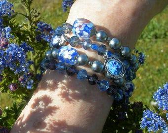 Rich blue and purple vintage bead,wrap bracelet
